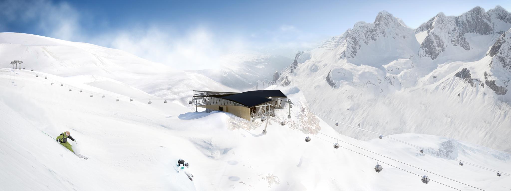 Zwischenstation Trittkopf Skifahrer