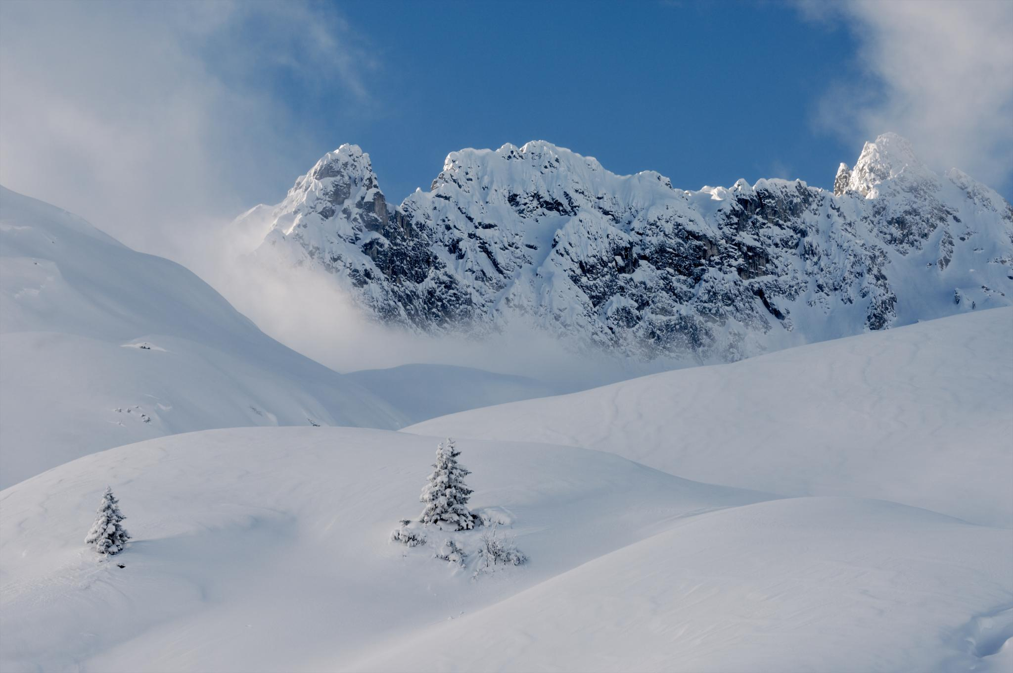 Schnee Berge Skifahrer Zürs Lech