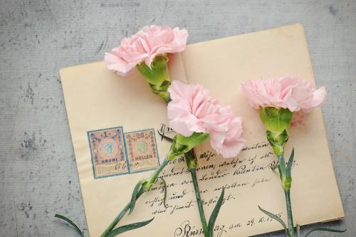 Detailansicht Brief mit Rosen