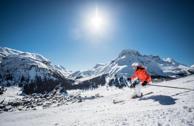 Skifahrer Zürs Arlberg